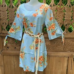 OTTO MODE Baby Blue Floral Satin Shift Dress